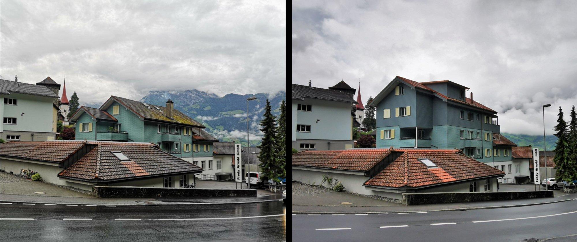 Altes Gebäude links, Mehrfamilienhaus mit Aufstockung rechts
