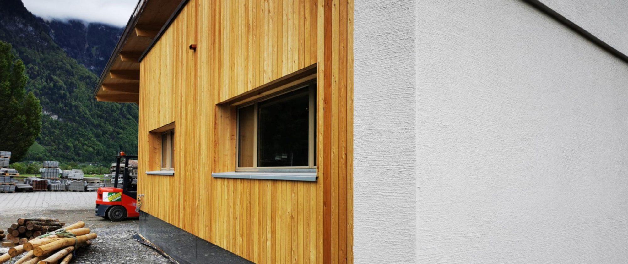 Übergang Holzschalung zu verputzter Wand