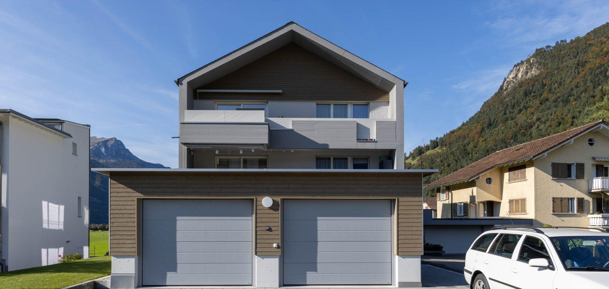 Aussenansicht der neu ausgebauten Wohnungen im bestehenden Gebäude