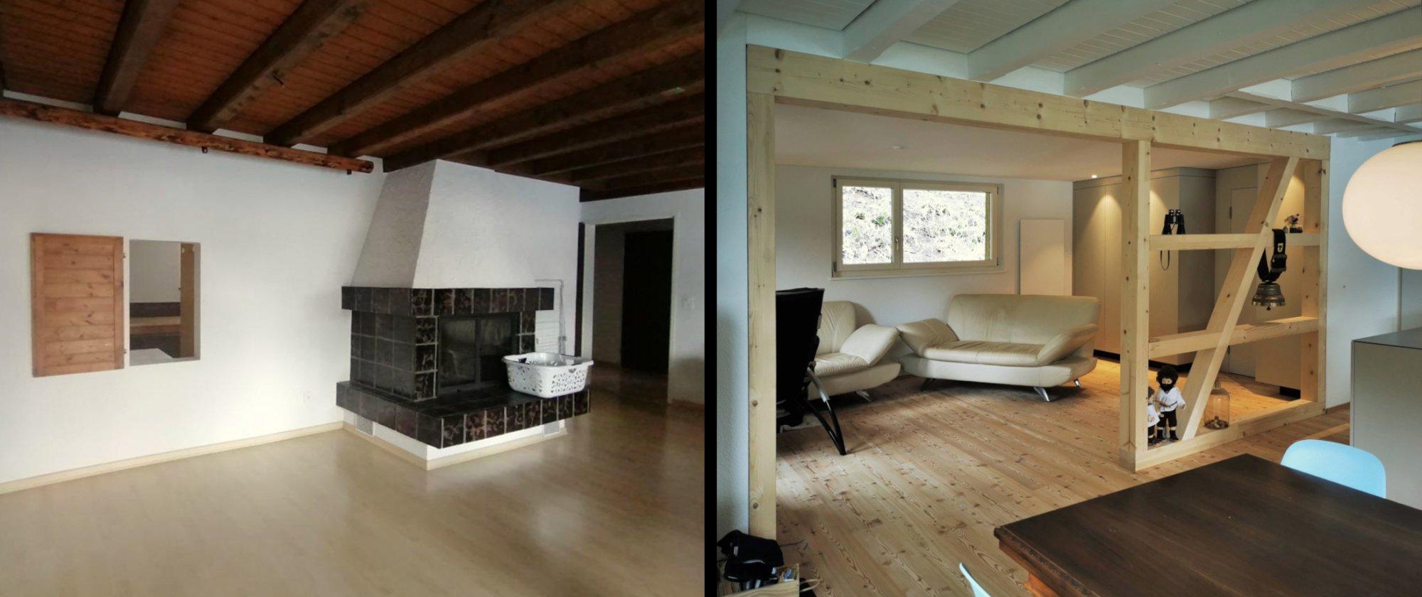 das Wohnzimmer - vorher und nach dem Umbau